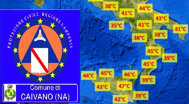 Protezione Civile. Criticità per rischio ondate di calore in Campania