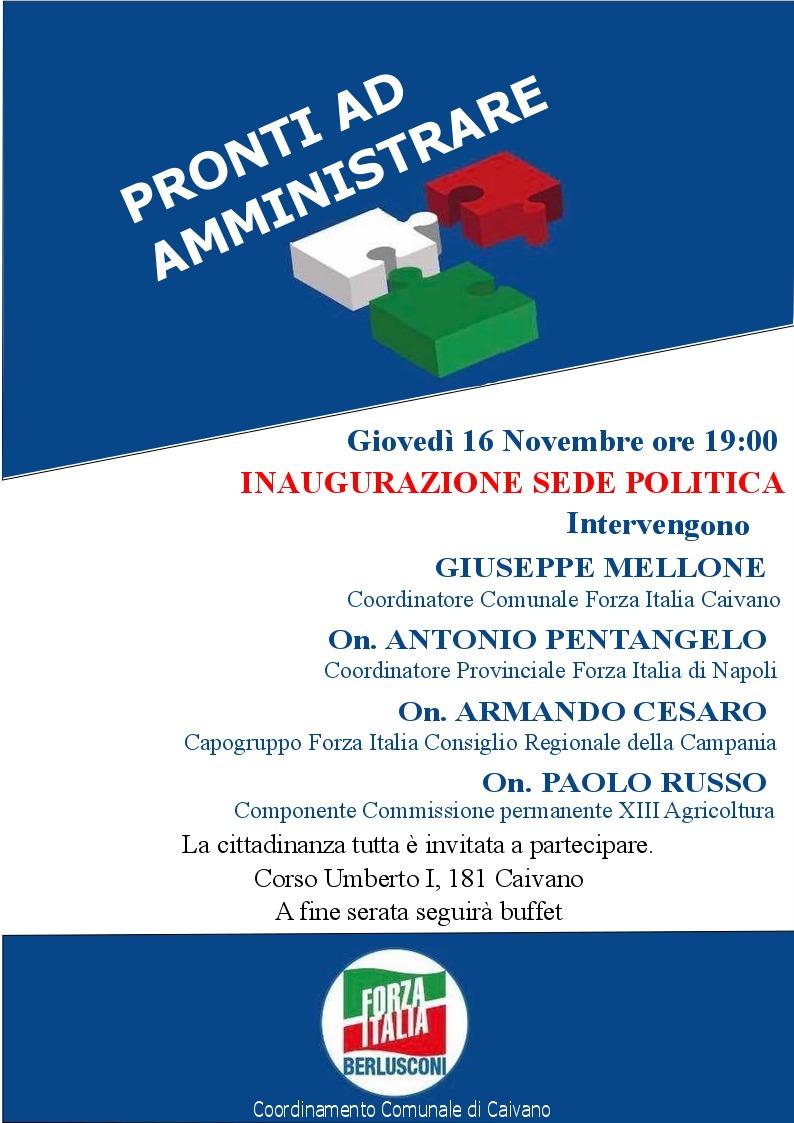 """Forza Italia:""""Pronti ad amministrare"""" - Inaugurazione della sede del partito"""