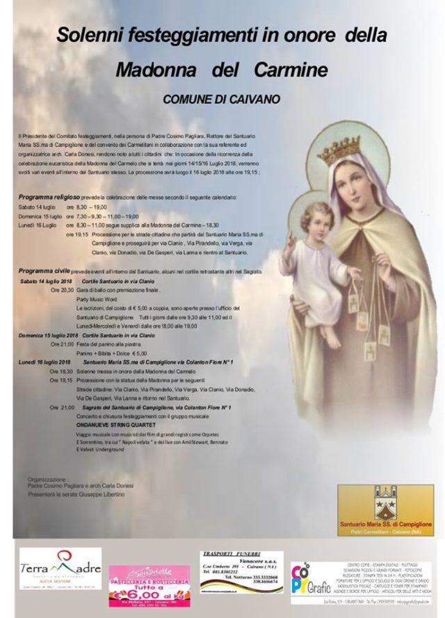 Festa del Carmelo, programma completo dal 14 al 16 luglio