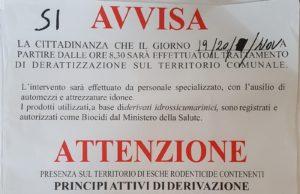 Derattizzazione su tutto il territorio comunale, il 19 e il 20 novembre
