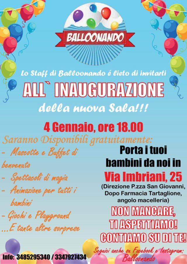 Balloonando cambia sede, il 4 gennaio l'inaugurazione a via Imbriani
